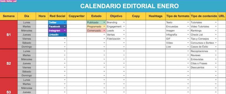 calendario de redes sociales ejemplo